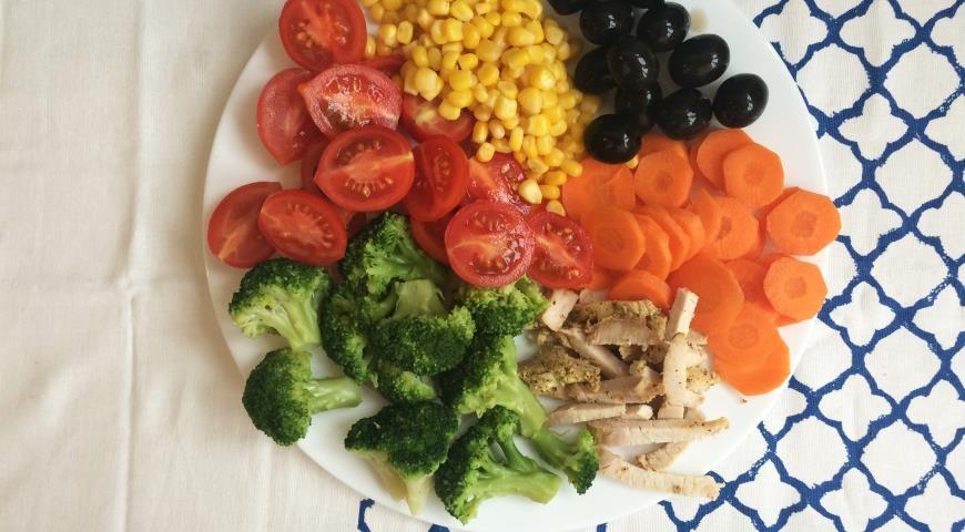 овощи с индейкой на тарелке